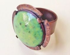 enameled copper ring by Denise Peck - Fall in Love with Enameling and Learn Unique Enamel Surface Effects