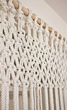 DIY macrame curtain (or could do slightly differently as wall hanging)