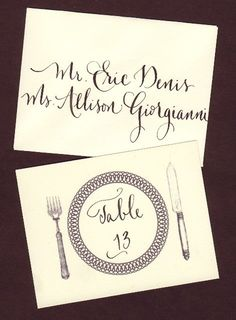 Escort Envelopes With Table Number Insert Card by lilflower