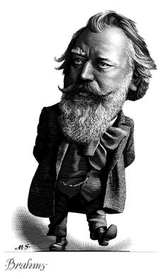 Brahms  -  Caricature Engravings of Composers by Mark Summers