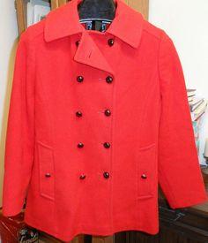 Vtg Women's Sz 14 Macintosh Red 100% Wool Coat Made in USA Pea Coat Peacoat #Macintosh #Peacoat