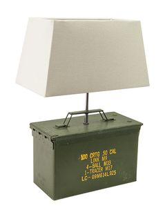 If any of you are electricians and like this lamp, we do carry ammunition boxes like this at our Greenville store! If not, you can always put ammo in it! #ammocan #lamp #awesome