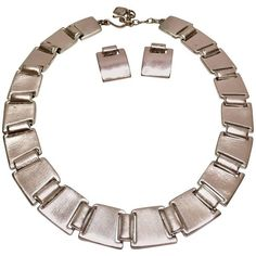 Preowned 90's Givenchy Modernist Demi Parure Silver Matte Necklace And... ($325) ❤ liked on Polyvore featuring jewelry, brown, choker necklaces, givenchy jewelry, brown jewelry, silver jewelry, silver jewellery and pre owned jewelry