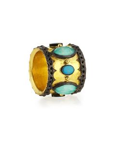 Armenta green turquoise and opal ring