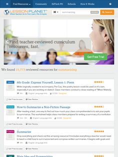 Search Teacher-Reviewed Worksheets and Lesson Plans about SUMMARIZING