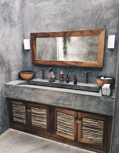 36 Modern Rustic Bathroom Decor Ideas – – rustic home diy Rustic Bathroom Designs, Rustic Bathroom Decor, Rustic Bathrooms, Bathroom Interior, Small Bathroom, Cement Bathroom, Bathroom Ideas, Concrete Countertops Bathroom, Bathroom Vanities