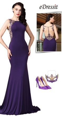 eDressit Sleeveless Purple Embroidery Beaded Formal Evening Gown