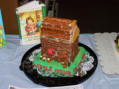 """Amber O. won the  """"Most Book-Like"""" prize for """"Little House in the Big Woods""""    2012 Edible Book Festival at Burton Public Library"""