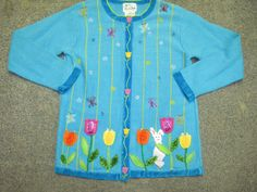 Womans Quacker Factory Turquoise Tulip Bunny Easter Cardigan Sweater Size Small | eBay $12.75