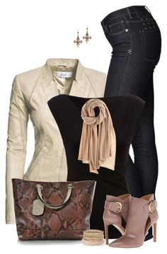 """""""Cream Leather Jacket & Jeans"""" by daiscat ❤ liked on Polyvore featuring Danier, Ksubi, Nine West, Gucci, Calypso St. Barth and Mawi"""