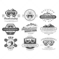 Snowboarding Logo and Label Template Set Vector EPS #design Download: http://graphicriver.net/item/snowboarding-logo-and-label-template-set/14396888?ref=ksioks