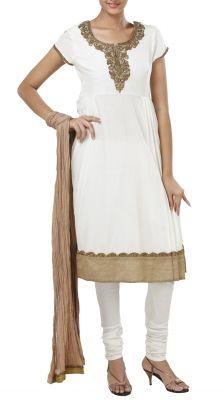 Ivory Cotton Silk Pleated Salwar Suit | Strandofsilk.com - Indian Designers