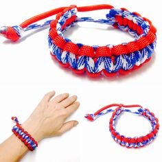 Paracord Survival Bracelet - Survival Bracelet - Paracord Bracelet - Red, White, and Blue Paracord Bracelet -Macrame Bracelet -Mens Bracelet by OurUniverseShop on Etsy