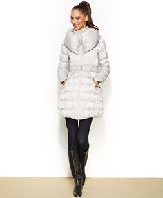 ee6f8b3879bad Laundry by Shelli Segal Belted Down Puffer Coat   Reviews - Coats - Women -  Macy s