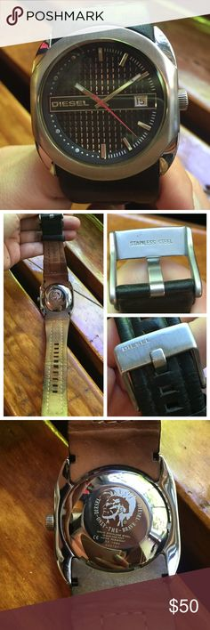 Diesel Watch Leather Strap Stainless Steel Diesel Watch Leather Strap Stainless Steel // It's pre-loved so the genuine leather strap definitely shows wear but not too bothersome. Also easy to replace if you want to. There is a slight stracth on the top left corner of the surface which is again acceptable. Price reflects the condition. I ship same-day from pet/smoke-free home. Diesel Accessories Watches