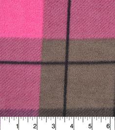 "Anti-Pill Fleece Fabric 57""-Hensley Pink Plaid"