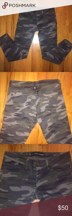 Express green camo skinny ankle jeans These are Express green camo skinny ankle jeans. Worn once! Express Jeans Skinny