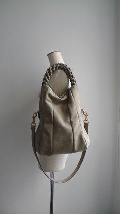 Custom made to order - ILEMI PARIS 2 ways Leather Bag (S.bidous/Khaki/Larger size)