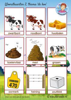 Word Cards 2 theme cow, nursery idea, toddlers, cow theme Kindergarten.