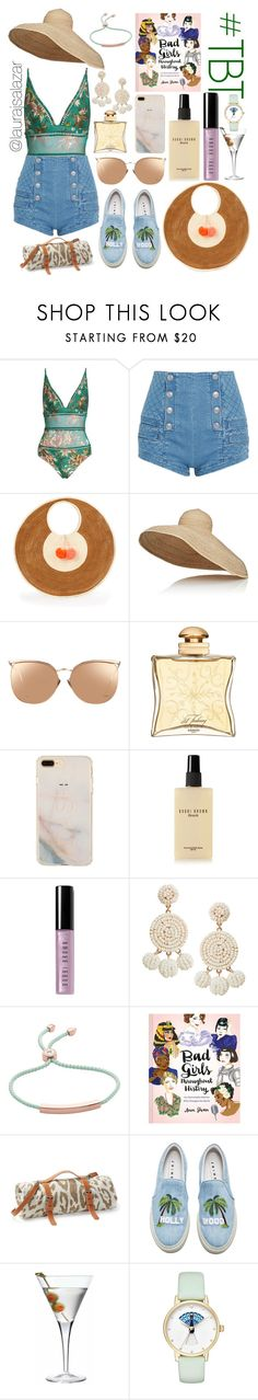 """Bad Girls #TBT"" by laurajsalazar ❤ liked on Polyvore featuring Zimmermann, Pierre Balmain, Sophie Anderson, Lola, Linda Farrow, Hermès, Bobbi Brown Cosmetics, Humble Chic, Monica Vinader and Chronicle Books"