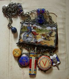 Soldered Glass Assemblage Charm Necklace Clark's by Vintagearts, $110.00 by hester