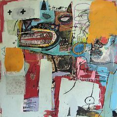 Forfeit 2005 by Lyle Carbajal - Mixed Media Oil Paining on Masonite. Outsider Art, Art And Illustration, Jm Basquiat, Graffiti, Expressive Art, Naive Art, Contemporary Paintings, Collage Art, New Art