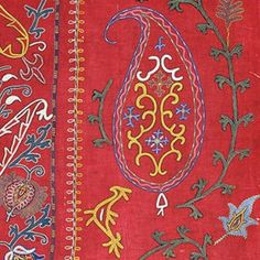 NIM SUZANI Embroidered silk worked on a 'turkey red' twill cotton from Manchester. Lined with Russian cotton and ikat bias binding Suryadary...