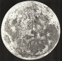 vintage astronomy print, topographical map of the moon, from Le Ciel Notions Élémentaires D'Astronomie Physique, by Amédée Guillemi, 1877