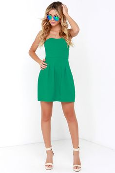 Classy Knoll Green Strapless Dress at Lulus.com!