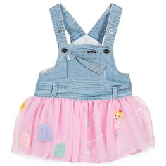 Baby girls cute blue denim pinaforedress by Mayoral, with a gathered, pink tulle skirt. Embroidered on the skirt are the words 'my home is a sweet home' and 'you are my sunshine' as well as houses and flowers. With poppers on the adjustable shoulder straps and at the sides, it has two front pouches - one with the designer's silver metal logo tab and the other with the corner bent down, showing a glittery underside.