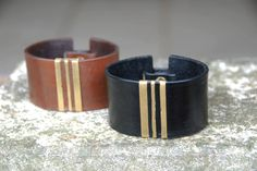 leather cuff with textured brass detail || handmade in oxhide leather