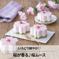 🌸春爛漫おもてなしスイーツ🌸 あいりおーさんの「桜香る♪桜ムース」 コッタオリジナルの桜型の可愛いセルクルを使って春らしく♪今の季節にピッタリの和風ムースです。 Asian Desserts, Sweet Desserts, Delicious Desserts, Dessert Recipes, Yummy Food, Gourmet Desserts, Wagashi Recipe, Desserts Japonais, Dessert Original
