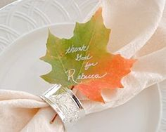 Inspiring Ideas with artist Jeanne Winters: writing with white paint pen on real leaves