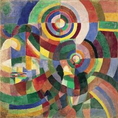 Electric Prisms, 1914. Sonia Delaunay (1885–1979) was a key figure in the Parisian avant-garde and became the European doyenne of abstract art. Throughout the first half of the c.20th, she celebrated the modern world of movement, technology and urban life, exploring new ideas about colour theory together with husband Robert Delaunay. This UK retrospective assesswes the breadth of her vibrant artistic practice across a wide range of media. It features the groundbreaking paintings, textiles