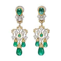 Estate Buccellati Emerald Drop Chandelier Earrings