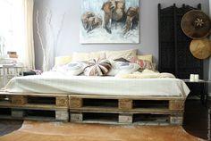 Купить Кровать из паллет - коричневый, Мебель, мебель ручной работы, мебель из дерева, мебель на заказ