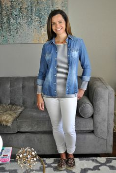 Perfect spring outfit with closet staples - white jeans, striped top, leopard sneakers a chambray shirt and leopard shoes. Also cute with a jean jacket!