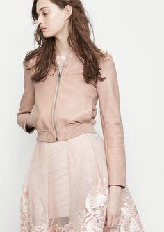 Leather varsity-style jacket - Jackets - Maje.com