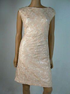 754329637bd $198 LAUREN Ralph Lauren Pink Floral Sequin Stretch Sheath Dress 12 NEW  R445 #RalphLauren #