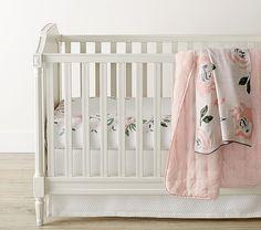 NWT Pottery Barn Kids Crib Sheet Fitted Paisley Lavender Rose Light Green PBK