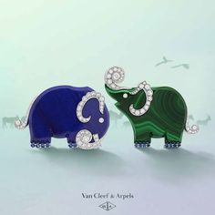 Haven't you packed your trunk yet? The Maison's new High Jewelry collection - L'Arche de Noé racontée par Van Cleef & Arpels - is inspired by Noah's Ark. Dressed in the nautical colors of lapis lazuli and malachite, these elephants are about to set sail # Van Cleef Arpels, Van Cleef And Arpels Jewelry, High Jewelry, Jewelry Art, Jewelry Design, Elephant Jewelry, Animal Jewelry, Elephant Love, Estilo Fashion