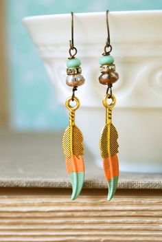 Love the painted charms Lola. bohemian feather  earrings. Tiedupmemories by tiedupmemories, $17.50