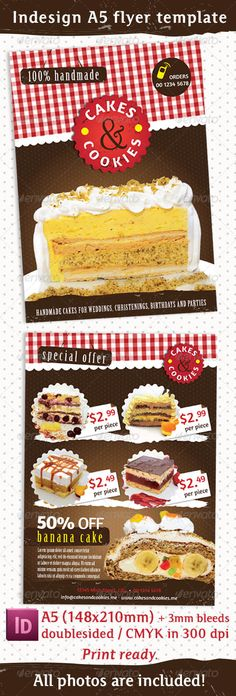 Cake and Cookies Flyer #GraphicRiver Indesign flyer template for Cakes and Cookies handmade supplier. Suitable for business specialized in food, pastries, desserts, cakes, catering, events… Format A5 (148×210mm) + 3mm bleeds, doublesided CMYK in 300 dpi Indesign CS6 and IDML (for Indesign CS4 or later) files included. - Fonts: Birch – default Amaranth ( .fontsquirrel /fonts/amaranth?q=amaranth) - All photos are included! - Created: 3August13 GraphicsFilesIncluded: InDesignINDD Layered: Yes…