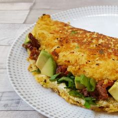 Eggless Omelette with Avocado, Spinach & Sundried Tomatoes (Vegan, Gluten-Free)