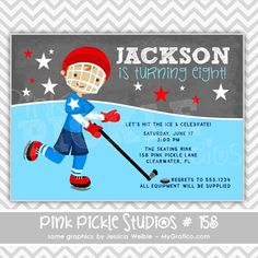 Hockey Boy Personalized Party Invitation-personalized invitation, photo card, photo invitation, digital, party invitation, birthday, shower, announcement, printable, print, diy,sports, game