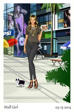 Pretty outfit from the game mall game. Has a happy and healthy pet by her.