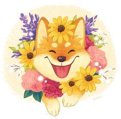 Hello, spring! Dog's bright smile always makes me so happy. #봄 #시바견 #시바이누 #꽃 #미소 #일러스트 #일러스트레이터 #미루 #시바 #spring #dog #flowers #shibainu #shiba #smile #illustration #illustrator #art #artwork #miru