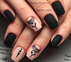 Make an original manicure for Valentine's Day - My Nails Black Nails, White Nails, Pink Nails, Fall Nail Designs, Nail Polish Designs, Love Nails, My Nails, Japanese Nail Art, Nail Decorations