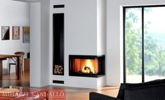 Modern and Traditional Corner Fireplace Ideas, Remodel and Decor Corner Gas Fireplace, Black Fireplace, Home Fireplace, Living Room With Fireplace, Fireplace Design, Fireplace Ideas, Fireplace Mantels, Fireplace Pictures, Design Case
