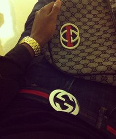 Gucci belt and gucci backpack